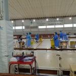 Primeras pruebas de antígenos en el polideportivo de Rivas