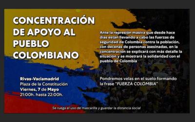 Concentración en Rivas de apoyo al pueblo colombiano