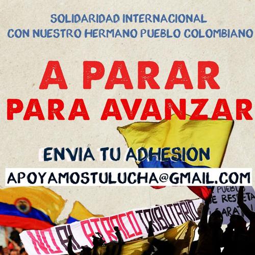 ¡Solidaridad internacional con el pueblo Colombiano!